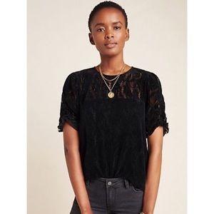 Anthropologie medium Black Velvet Lace Blouse Top Parvati